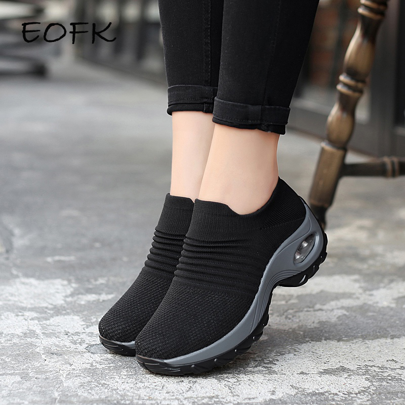 EOFK 2020 Fashion Women Platform Shoes Woman Lady Flats Casual Ballet Shoes Comfort Slip On Black Fly Woven Sock Shoes