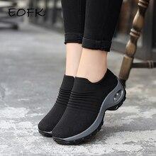 Eofk 2020 moda feminina sapatos de plataforma mulher senhora apartamentos casuais sapatos de ballet meias tecidas conforto deslizamento no dedo do pé redondo preto