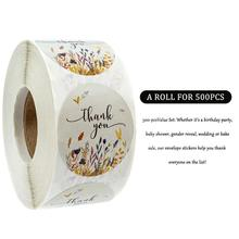 500 Labels Per Roll 1inch Round Autumn Flower Thank You Sticker Seal Labels Sticker Stickers Scrapbooking Stationery Sticker