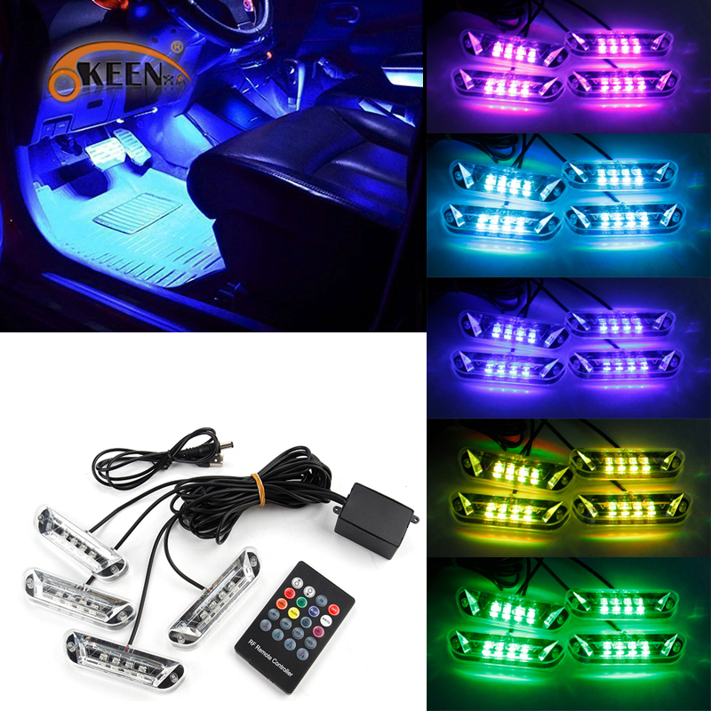 2 In 1 Red 9-LED Car Interior Footwell Floor Atmosphere Neon Lights