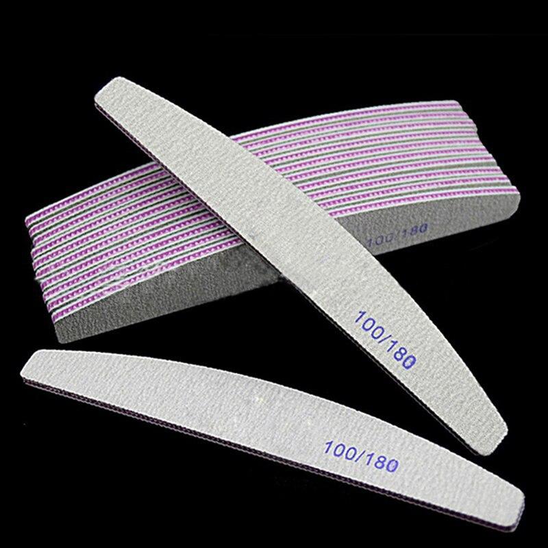 Arquivo de unha profissional 100/180 metade da lua lixa prego lixa blocos moagem polimento manicure ferramentas cuidados 5 pçs/lote