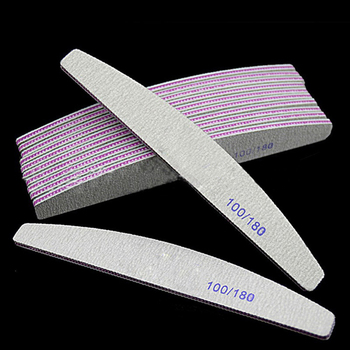 Professional Nail File 100/180 Half Moon Sandpaper Nail Sanding Blocks Grinding Polishing Manicure Care Tools