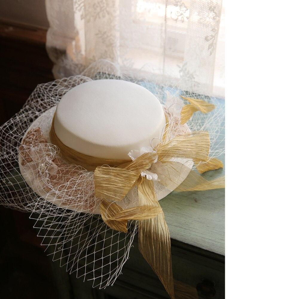 Mingli Tengda Mori mariée chapeaux et Fascinators pour les femmes élégant femme Brigade formelle chapeau Net fil chapeaux accessoires de mariage