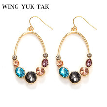 wing yuk tak Fashion Luxury Colorful Crystal Drop Earring 2019 Brincos Vintage Jewelry Statement Earrings For Women