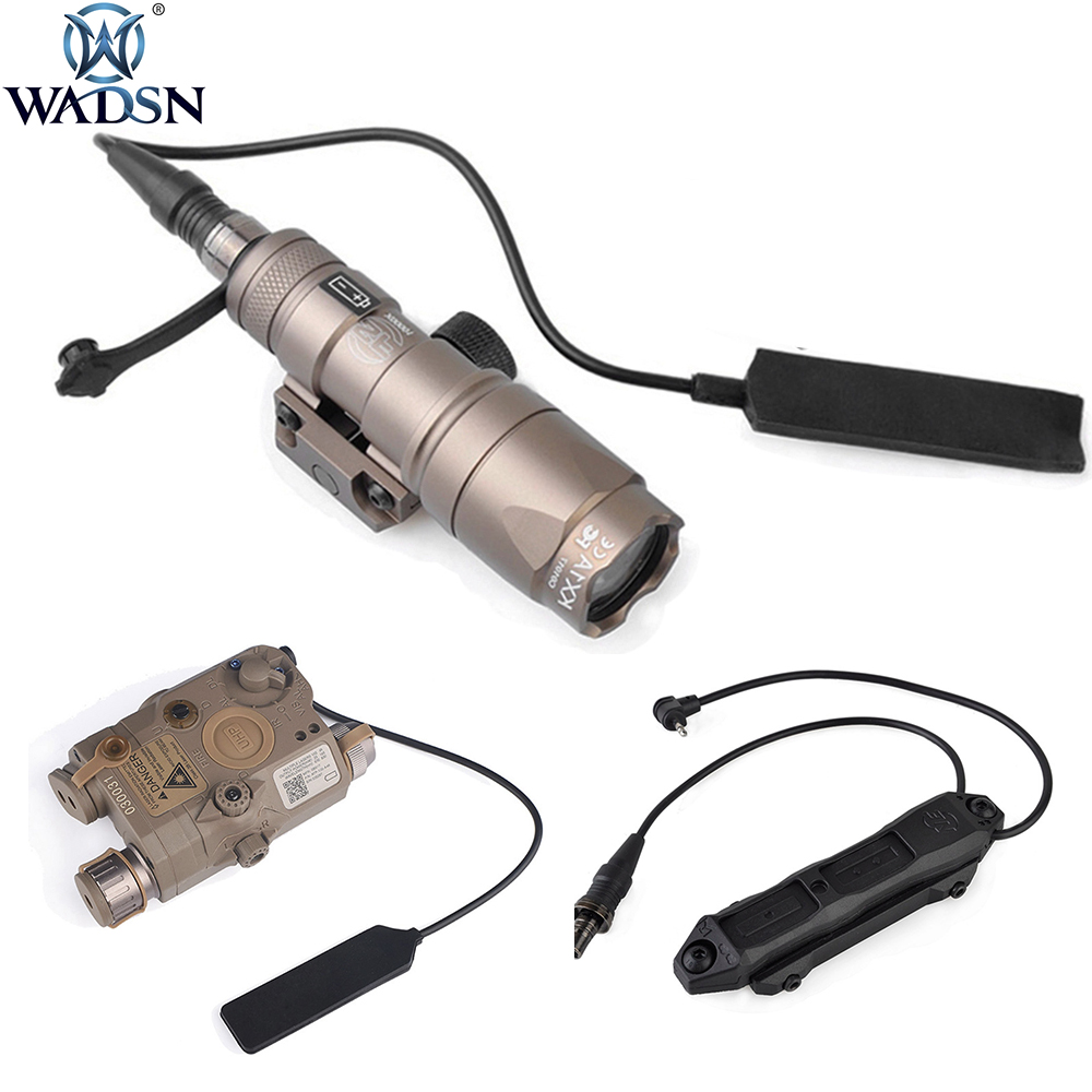 WADSN Airsoft M300 Mini Scout Flashlight PEQ-15 LA5C UHP IR Red Laser Dual Control Augmented Pressure Switch Block Accessory Kit