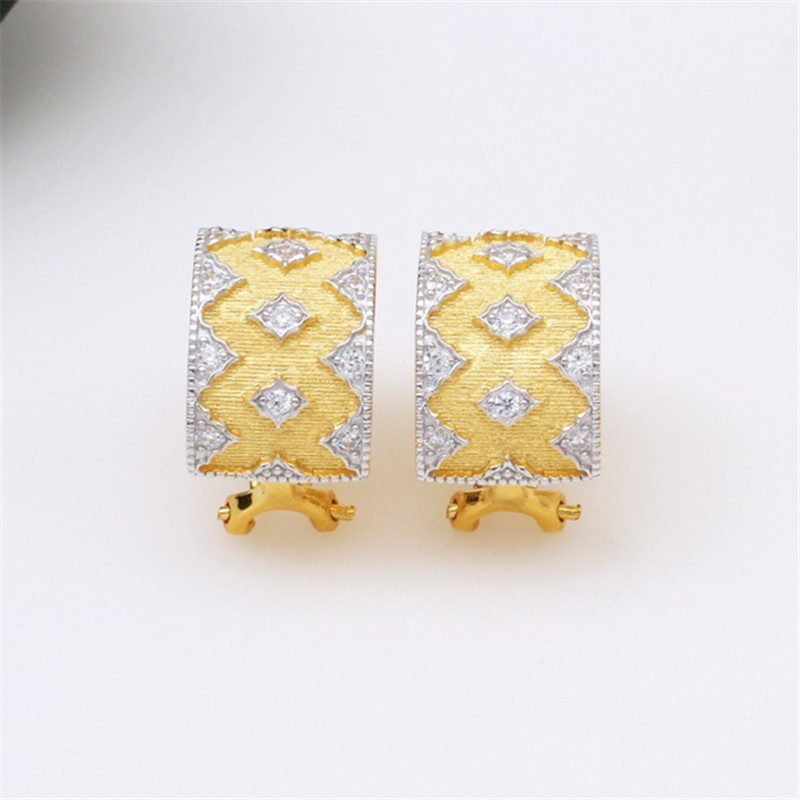 CMajor S925 Solid Sterling Silver Delicate Vintage Luxurious Temperament Elegant Geometric Two Tone Clip Earrings for Women