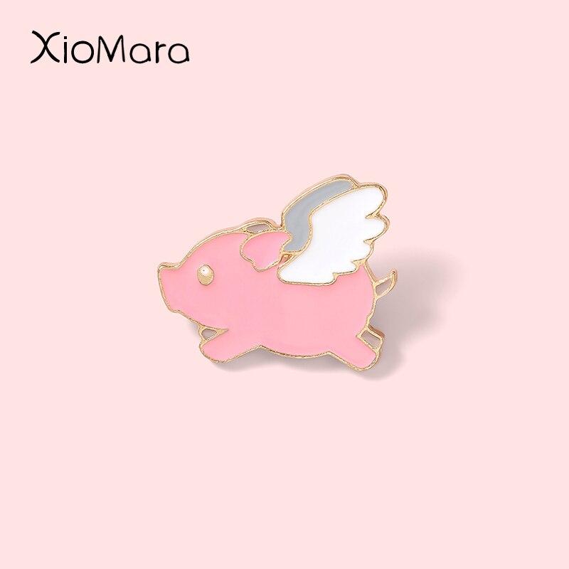 Эмалированная булавка в форме свиньи с крыльями, милая мультяшная маленькая розовая Летающая свинья, животные, ювелирные броши для друзей, ...