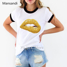 Summer Tops Tees Sexy golden Lips printed shirt women vogue t female white t-shirt hipster streetwear funny tshirt