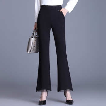 New Elegant Fashion Women Spring Autumn Micro Flare Pants Black High Waist Loose Suit Casual Cropped