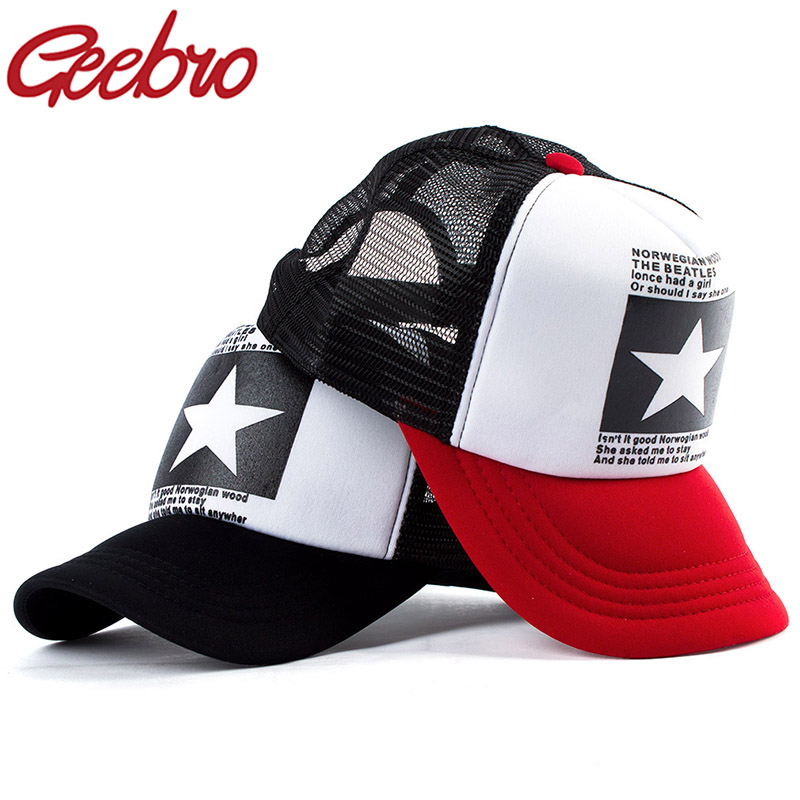 Geebro Fashion Five Star Pattern Baseball Cap Women Outdoor Baseball Hat Breathable Men Women Summer Mesh Caps Snapback Gorras
