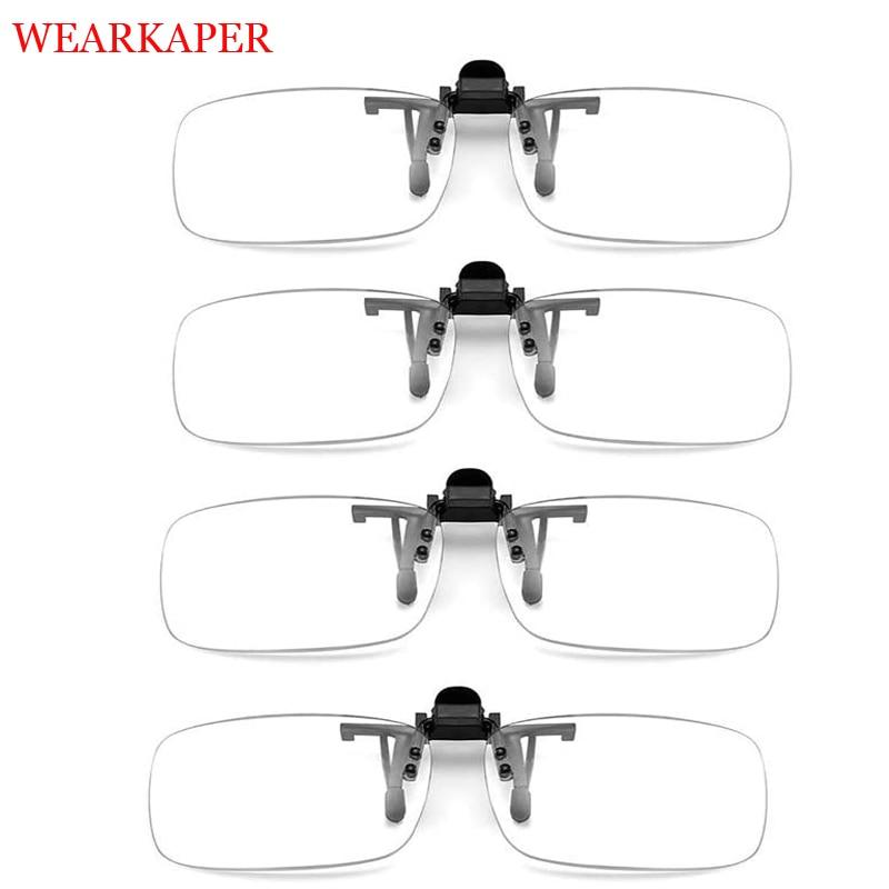 4 pcs clipe óculos de leitura transparente lente & clipe óculos flip up portátil anti-azul luz óculos de leitura