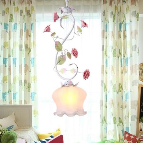 American Korean Style Pink Flower Iron Pendant Light Restaurant Bedroom Romantic Children Room Lighting Ing Lampen Industrieel