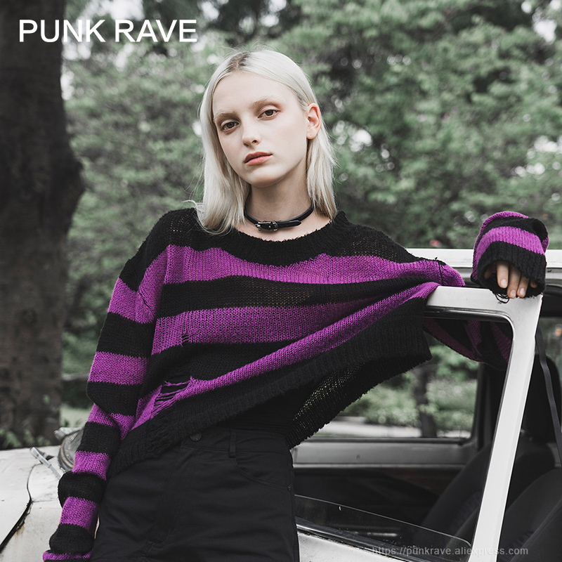 PUNK RAVE Girl's Punk Casual Long Sleeves Loose Blouse Round Neck Hole Striped Asymmetrical Autumn Sweater Female Sweater