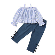 Toddler Girls Clothing Sets Striped Shirts Girl Outfits Spaghetti Strap Tops Bow Pants Girls Clothes Set roupas infantil meninas
