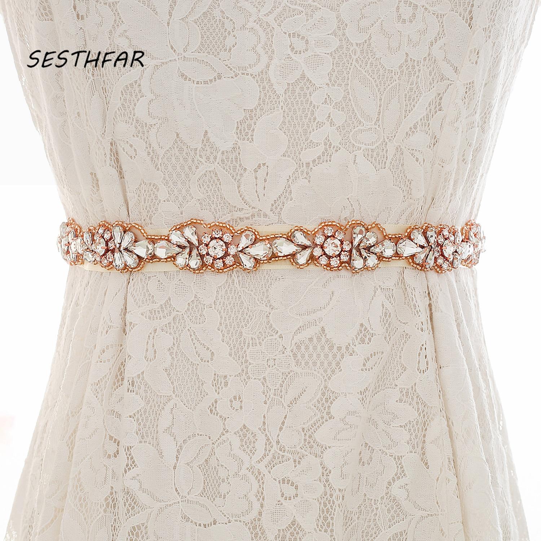 Crystal Wedding Sash Elegant Rose Gold Rhinestones Bridal Belt  Wedding Belt For  Bridal Accessories J169RG