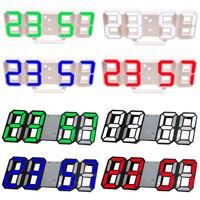 8 شكل ثلاثية الأبعاد ساعة طاولة رقمية ساعة حائط LED ضوء الليل تاريخ الوقت مئوية شاشة إنذار USB غفوة ديكور المنزل غرف معيشة