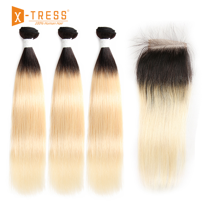 Brazilian Straight Human Hair Weaves With Lace Closure X-TRESS Honey Blonde 613 Ombre Color Non-remy Human Hair Weaving Bundles