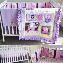 8 stks/set Baby Beddengoed Set Paars Olifant Crib Cot Quilt Bumper Sheet Stof Ruches Katoen Polyester Bumper Pads Lakens