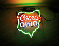 Coors Light OHIO Gift Neon Signs Real Glass Tube Open Beer Bar Pub Homeroom Girlsroom Party Decor 14x9
