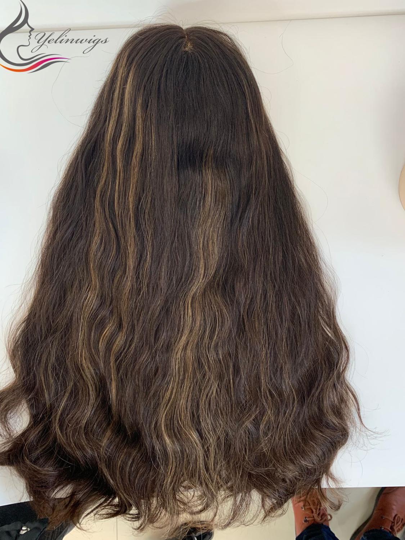 150% High Density Virgin European Hair Lace Top Jewish Kosher Wig Natural Wavy Lace Top Wig