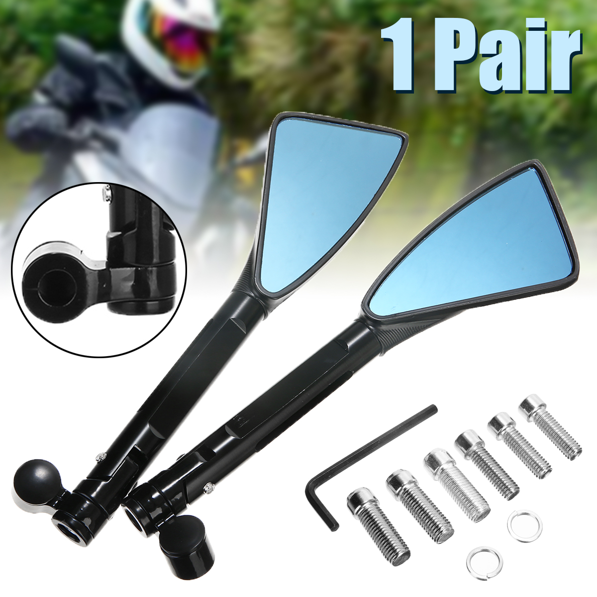 1Pair Black CNC Aluminum Motorcycle Rearview Mirror Antiglare Side Mirrors 8mm 10mm For Moto Accessories