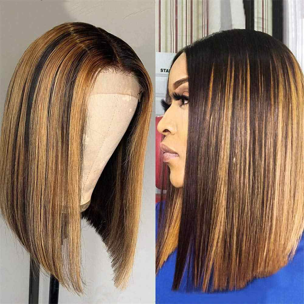 Ombre Highlight Bob Lace Front Human Hair Wigs Short Brown Honey Blonde Bob Wig 150 13x4 Hd Lace Frontal Maxine Colored Bob Wig Human Hair Lace Wigs Aliexpress