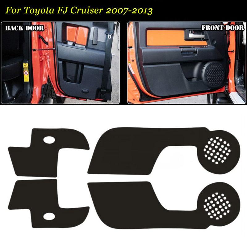 4 pçs interior 3d portas de fibra de carbono borda lateral anti-pontapé almofada de proteção adesivo para toyota fj cruiser 07-2013