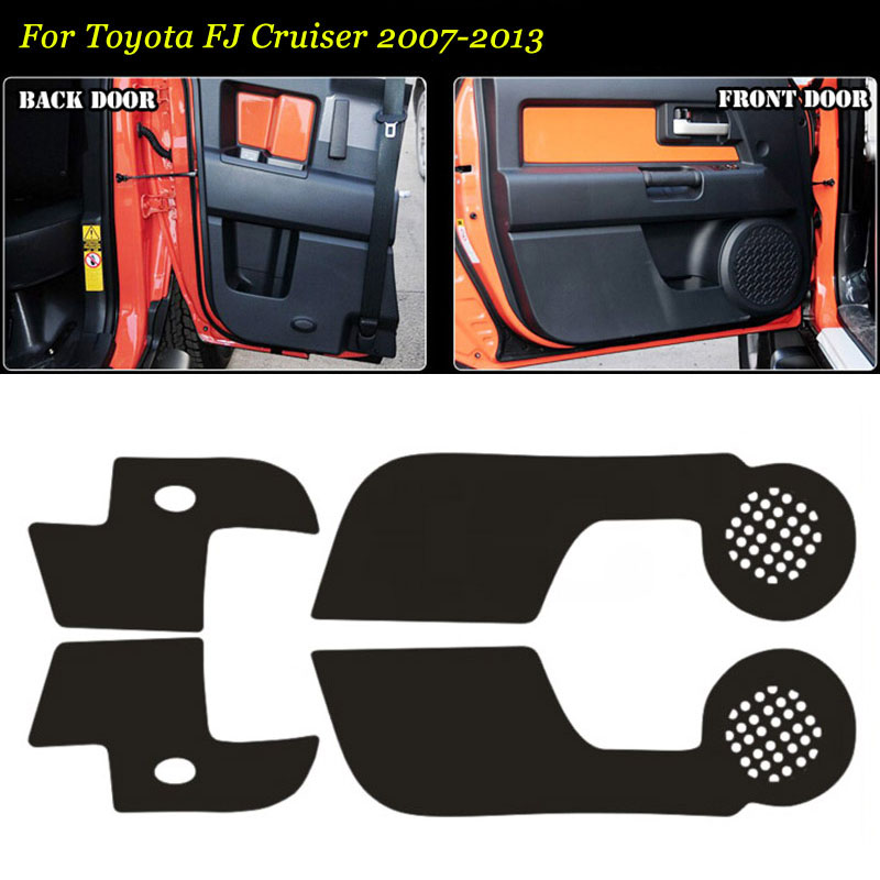 4 Pcs Interior 3D Carbon Fiber Doors Side Edge Anti-kick Protection Pad Sticker For Toyota FJ Cruiser 07-2013