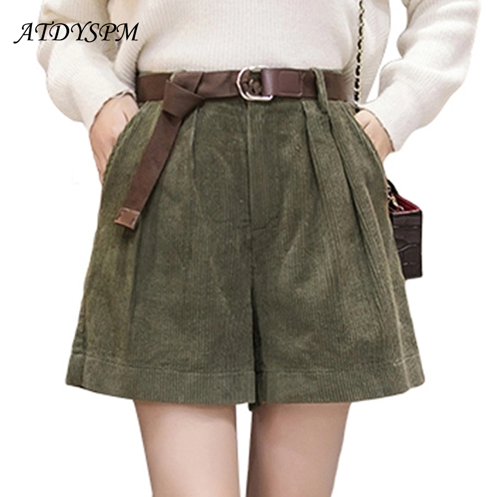 Women Autumn Winter High Waist Velvet Shorts Loose Wide Leg Casual Shorts Plus Size 5XL Elastic Waist BIG Pocket Women Shorts