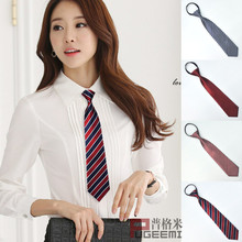 Korean ladies and students fashion casual zipper striped tie business attire overalls unit group Joker