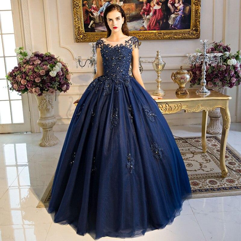 Bleu marine Cap manches robe De bal Vestidos De 15 Anos Tulle dos ouvert Sexy doux 16 robes robe Quinceanera robes avec Applique