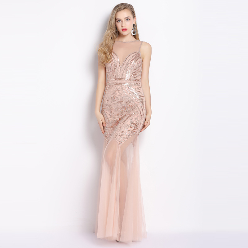Reality pats  Sexy dresses woman party night Perspective Backless Banquet Party Dress Sleeveless Sequin vest Woman