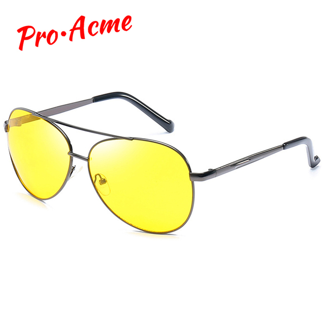Pro Acme Classic Pilot Night Vision Glasses Driving Yellow Lens Vision Driver Glasses For Men CC0101 1