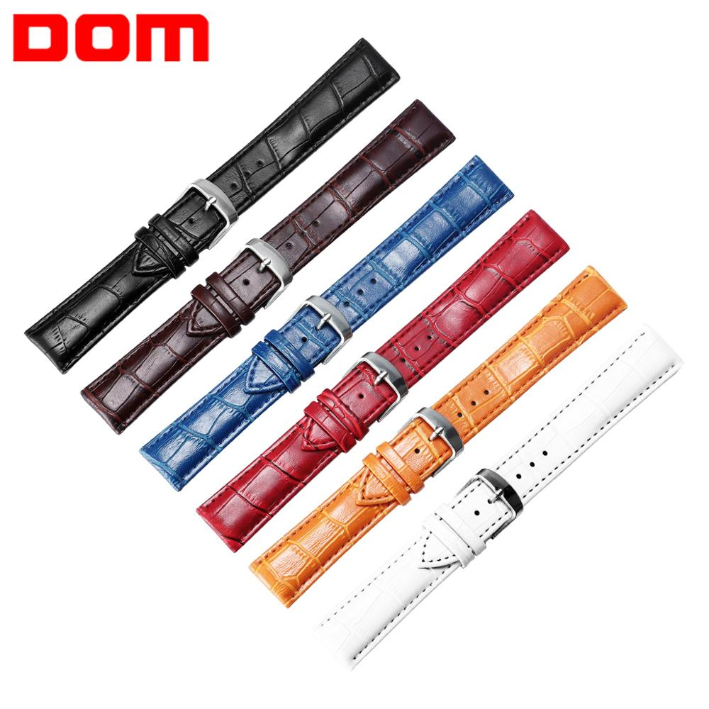 DOM Watch Band Faux Leather Straps Men Women 16-22mm Watch Accessories High Quality Brown Colors Watchbands
