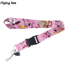 Flyingbee Courage the Cowardly Dog Keychain Cartoon Cute Phone Lanyard Women Fashion Strap Neck Lanyards for ID Card Keys X0475