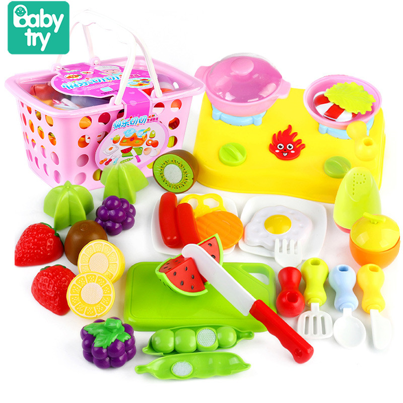 30pcs Cutable Vegetables Fruits Juguetes Pink Blue Basket Kitchen Set Cooking Pretend Play Toys For Kids Girls Boys Xmas Gifts