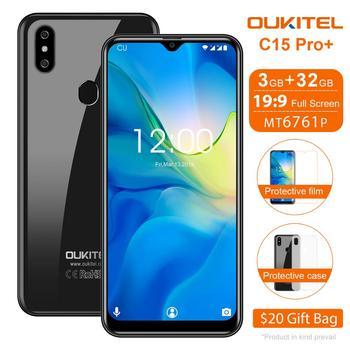 Перейти на Алиэкспресс и купить OUKITEL C15 Pro + Android 9,0 мобильный телефон 3 ГБ 32 ГБ MT6761 отпечаток пальца лица ID 4G LTE смартфон 2,4G/5G WiFi экран капли
