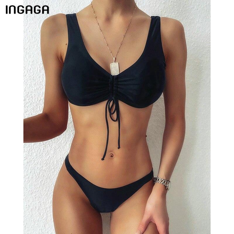 INGAGA-Bikinis con Push-Up para mujer, para mujer traje de baño de Tanga, bañador cortado con lazo negro, conjunto de Bikini brasileño, trajes de baño de playa 2021