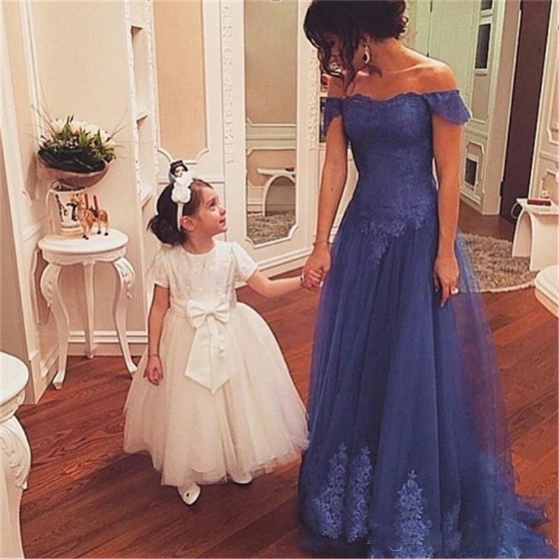 vestido novia boat Neck Lace Applique Tulle A Line Wedding Party Evening Prom Gowns 2018 Long Mother of the Bride Dresses