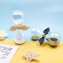 Angel Wing Hourglass Glass Sand Timer Wedding Sandglass Desktop For Home Office Decoration Valentines Day Birthday Gift