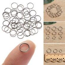 50 pçs edc aço inoxidável chaveiro anel ganchos 8/10/12mm círculo anel chave laço bagagem tag parafuso bloqueio diy pingente ferramentas de acampamento