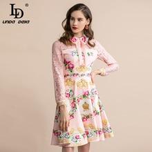 Elegant Lace Patchwork Pink Floral Print Midi Dress
