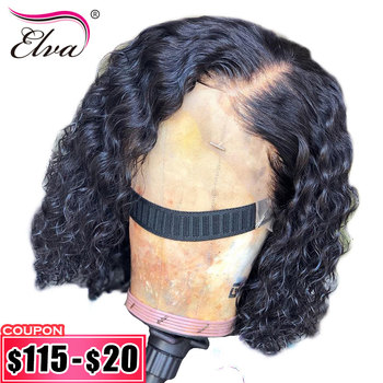 13x4 Short Bob Wigs Peruvian Lace Front Human Hair Wigs For Black Women 100% Remy Hair Curly Lace Front Wig With Baby Hair Elva