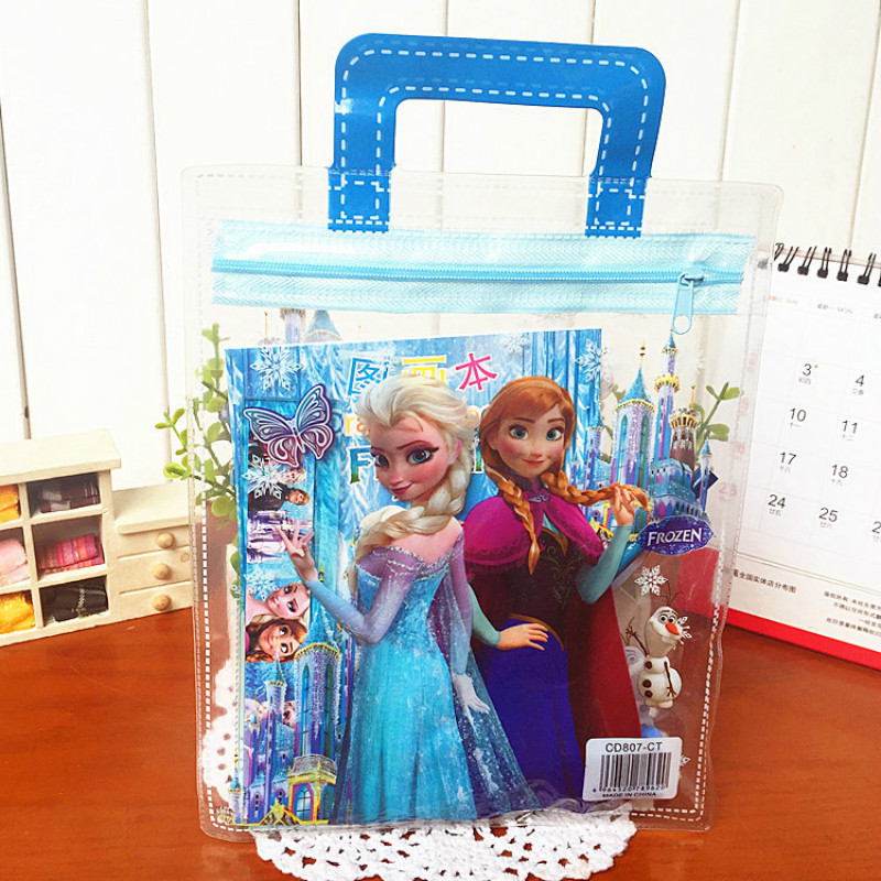 Disney 7pcs/set Frozen Pencil Case+ruler+pencil+eraser+Booklet+Pencil Sharpener Stationery Children's Day Gift School Supplies