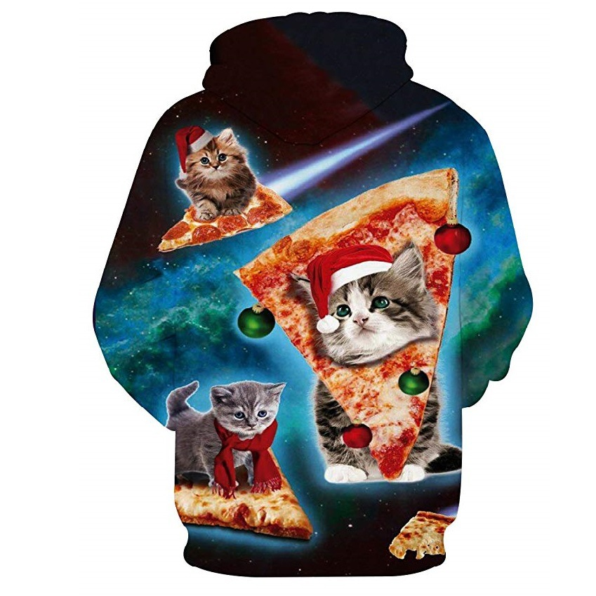 AliExpress Christmas Hot Selling 3D Cat Hoodie Digital Printing Fashion Man Hooded Pullover Hoody W226