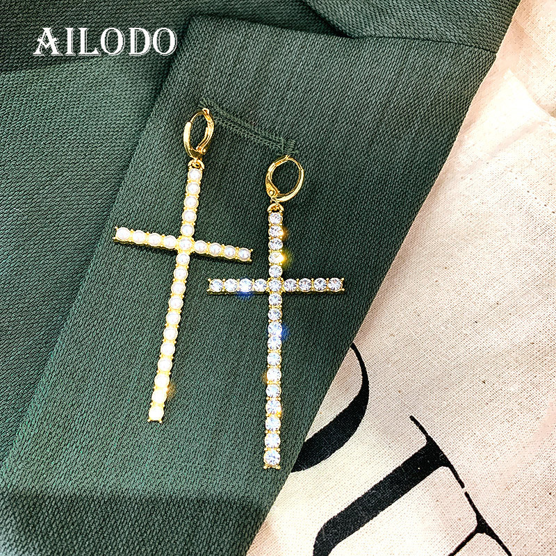 Ailodo 2020 Asymmetric Cross Earrings For Women Fashion Pearl Crystal Dangle Earrings Party Wedding Jewelry Girls Gift 20JAN20