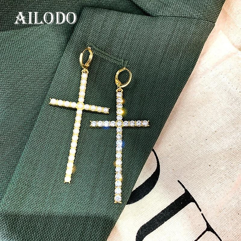 Ailodo 2020 Asymmetric Cross Earrings For Women Fashion Pearl Crystal Dangle Earrings Party Wedding Jewelry Girls Gift 20JAN20