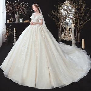 Image 2 - 구슬 장식 아플리케 레이스 짧은 소매 높은 허리 공주 공 가운 웨딩 드레스 임신 신부 플러스 크기 Aliexpress 로그인