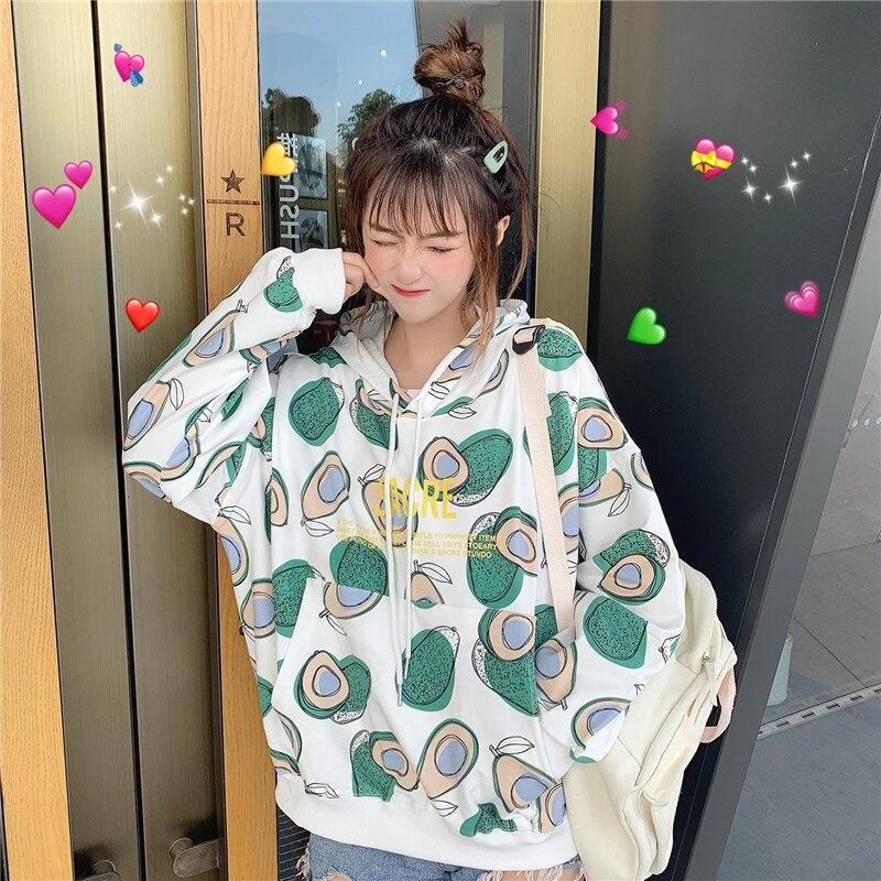 Autumn Women Kawaii Sweatshirt Hoodie Avocado Print Student Teen Girls Loose Bestie Long Sleeve Drawstring Hooded Tops Korean