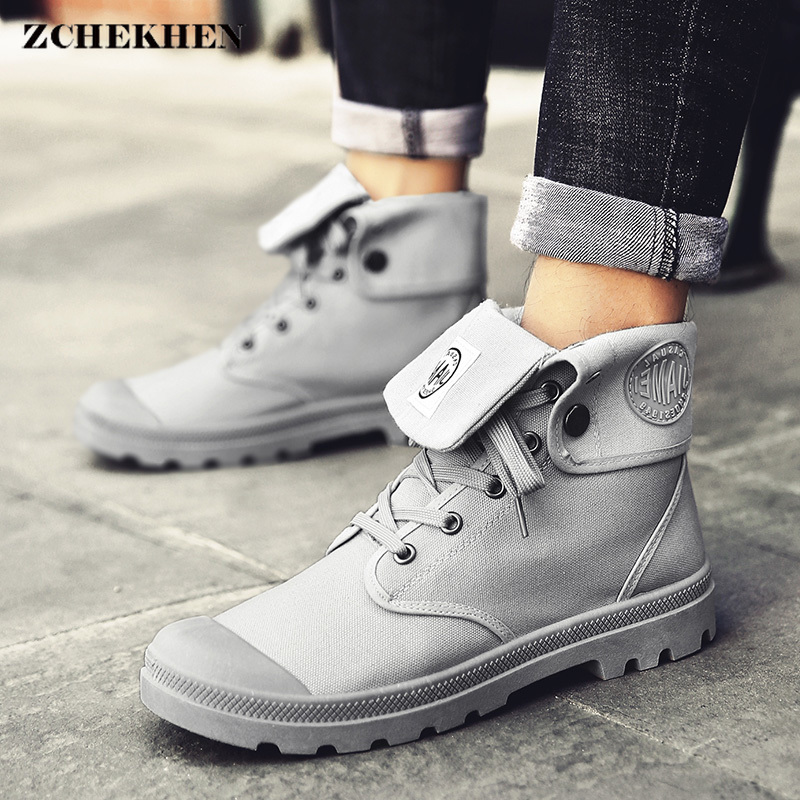 Men high top Canvas shoes Military Tactical Boots Desert Combat Outdoor Army Travel Shoes Ankle Boots gray black boots